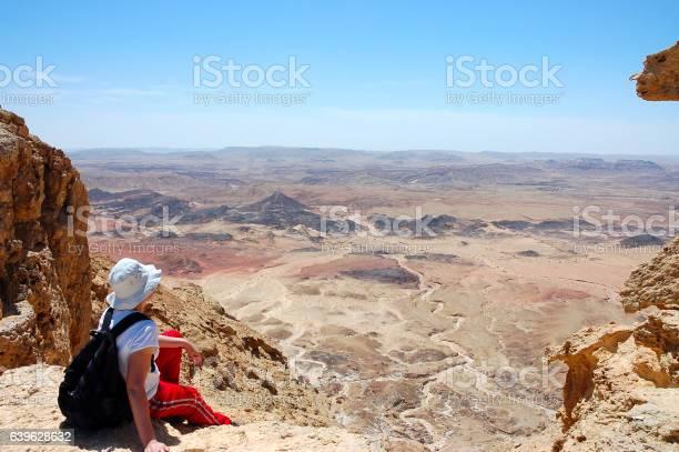 Female hiker viewing volcanic landscape in Negev desert, Israel