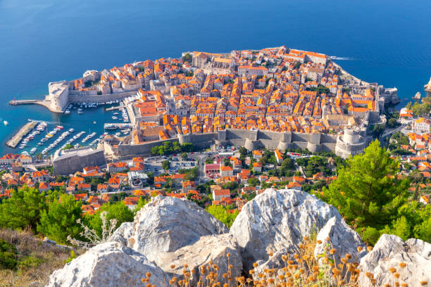 Scenic aerial view of Dubrovnik city on a sunny morning. stock photo