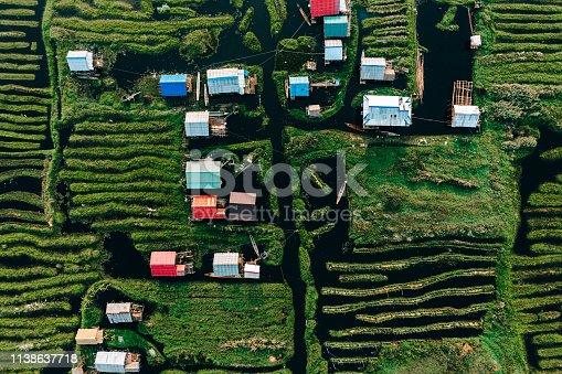 Scenic aerial view of floating gardens on Inle Lake in Myanmar