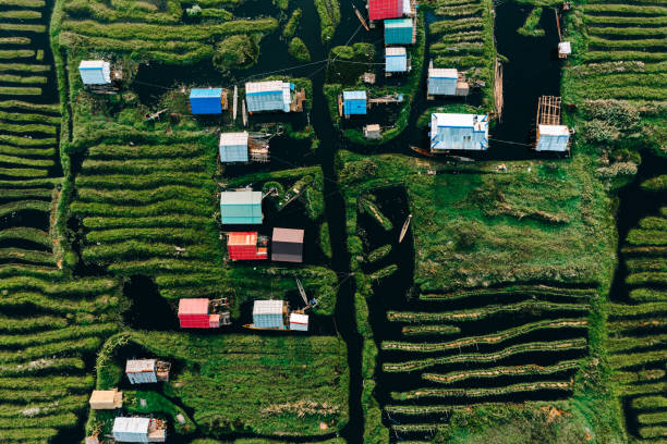 scenic aerial view of floating gardens  on inle lake - burma home do стоковые фото и изображения