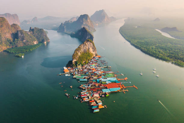Scenic aerial view of floating village Ko Panyi in Thailand stock photo