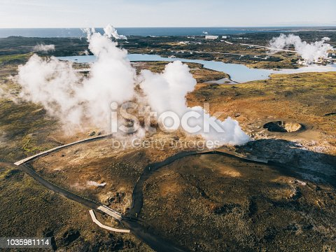 Scenic aerial view of Gunnuhver Hot Springs in Iceland