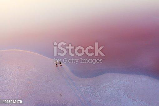 istock Scenic aerial view of heterosexual walking on  pink salt lake 1278212179