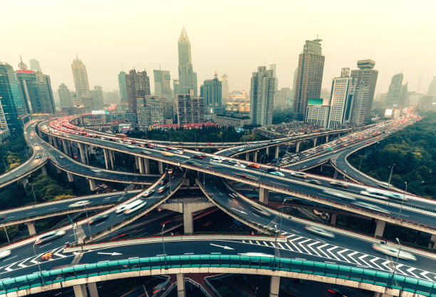 Scenic aerial view of highway intersection in Shanghai – Foto