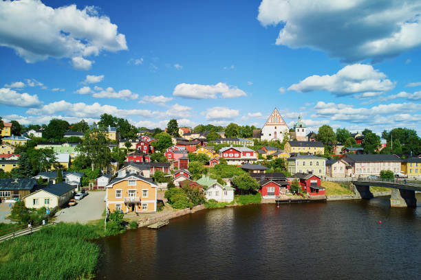Scenic aerial view of historical town of Porvoo stock photo