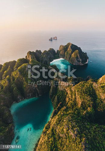 Scenic aerial view of Koh Phi Phi Island in Thailand at sunrise