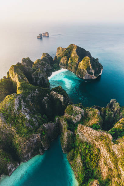 Scenic aerial view of Koh Phi Phi Island in Thailand stock photo