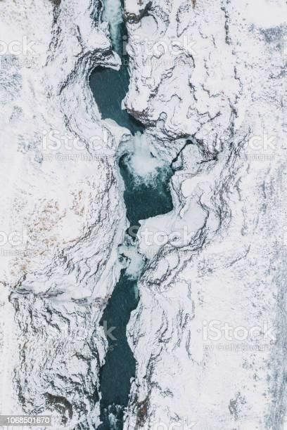 Photo of Scenic aerial view of Koluglufur waterfall in winter