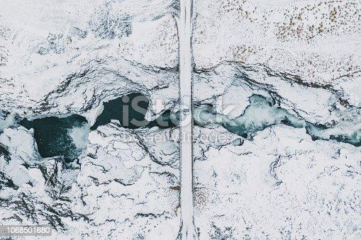Scenic aerial view of Koluglufur waterfall in winter