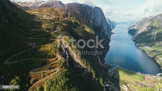 Scenic aerial view of Lysefjorden and winding road, Norway