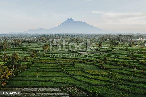Scenic aerial view of Merapi volcano on Java, Indonesia