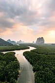 Scenic aerial view of Phang Nga mangrove forest   at sunrise
