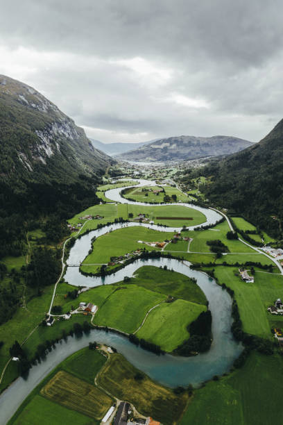 Scenic aerial view of river valley in Norway stock photo