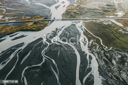 Scenic aerial view of road near the river in Iceland