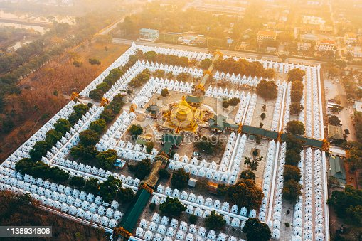 Scenic aerial view of Sandamuni Pagoda in Mandalay  at sunrise