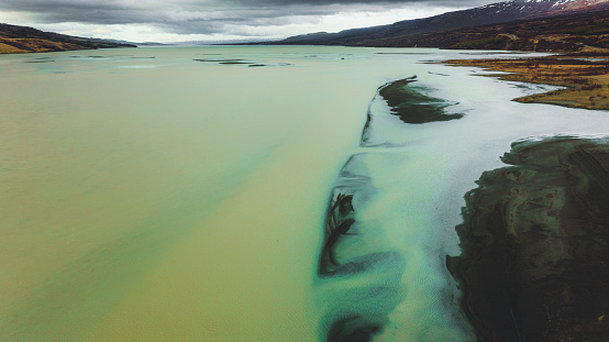 Drone photo of the melted glacier waters at the East Fjords of Iceland