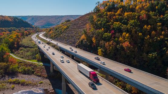 The high bridge at the Pennsylvania Turnpike on the sunny spring day. Lehigh Valley, Poconos region, Pennsylvania, USA.
