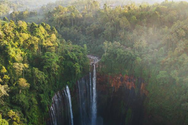 Scenic aerial view of Tumpak Sewu waterfall on Java stock photo