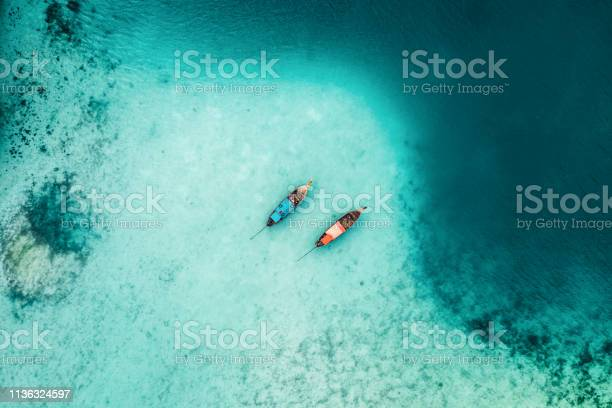 Photo of Scenic aerial view of two boats on sea in Thailand