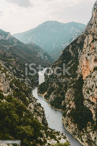 Scenic aerial view of Verdon gorge in Provence