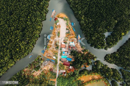 Scenic aerial view of village near Phang Nga bay, Thailand