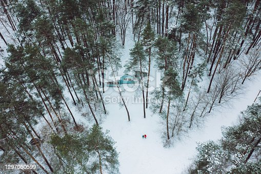 istock Scenic aerial view of woman and man walking in the winter forest to the hidden hut 1297050599