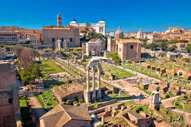 Scenic aerial view over the ruins of the Roman Forum in Rome Scenic aerial view over the ruins of the Roman Forum in Rome, capital of Italy roman forum stock pictures, royalty-free photos & images