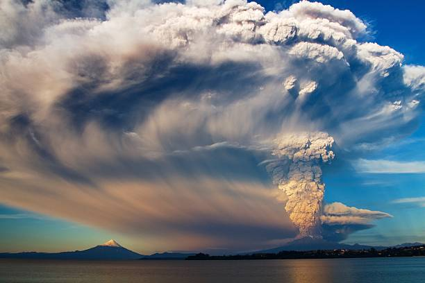Scenic air shot of Calbuco Volcano erupting After 42 years sleeping, Calbuco Volcano woke up. I was so happy and shocked to be there when it started. volcano stock pictures, royalty-free photos & images