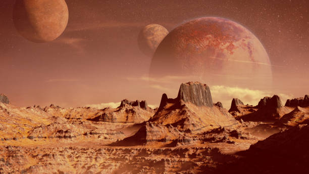 scenic alien planet landscape (3d render, elements of this image are furnished by NASA) stock photo