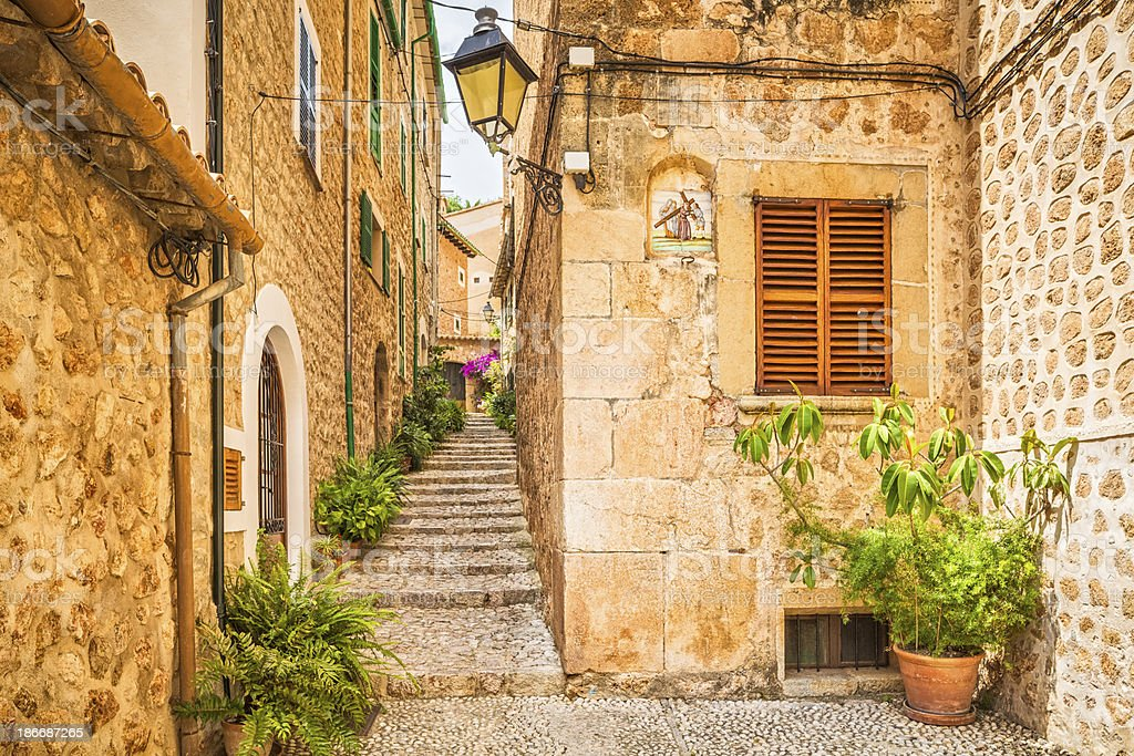 Scenic alley in Fornalutx village in Spain royalty-free stock photo