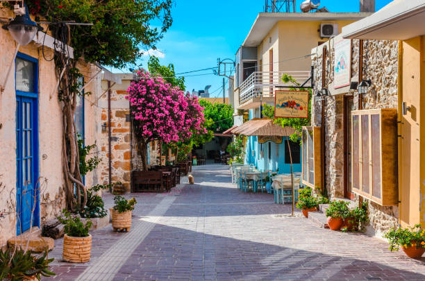 Scenic alley in the traditional seaside village of Paleochora stock photo