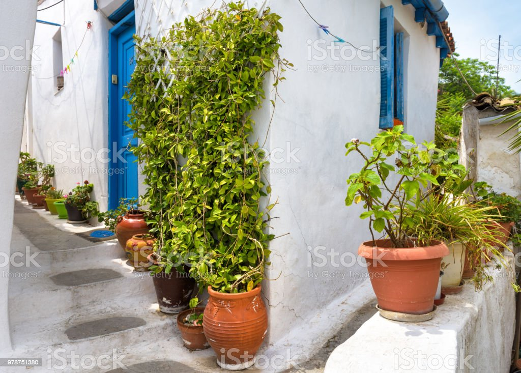 Scenic alley with old house in Plaka district, Athens stock photo