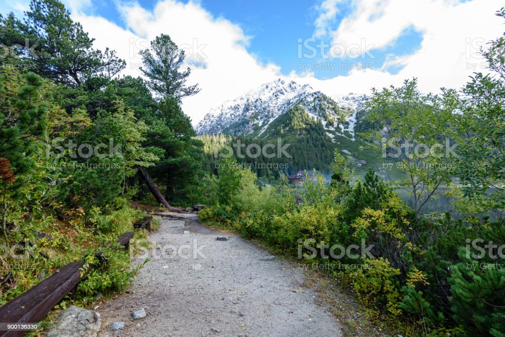 scenic and beautiful tourism trail in the park Slovensky raj, Slovakia stock photo