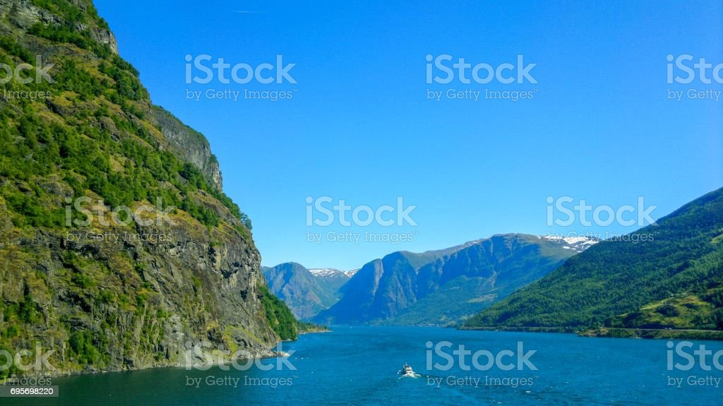 Scenic and tranquil fjords scenery in Flam Norway stock photo