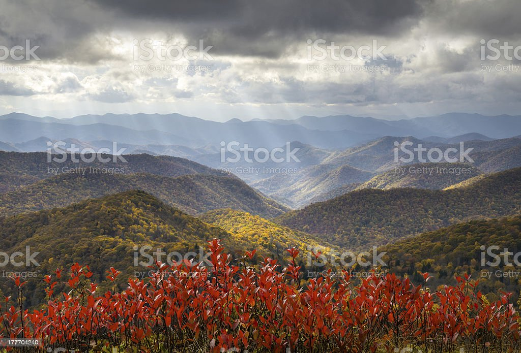 Scenic Autumn Blue Ridge Parkway Fall Foliage Crepuscular Light Rays royalty-free stock photo