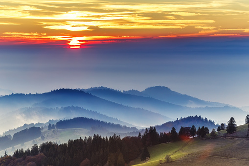 Scenic autumn mountain landscape of Black Forest, Germany.
