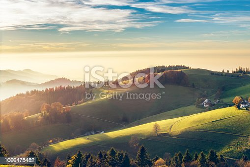 istock Scenic autumn mountain landscape of Black Forest, Germany. 1066475482