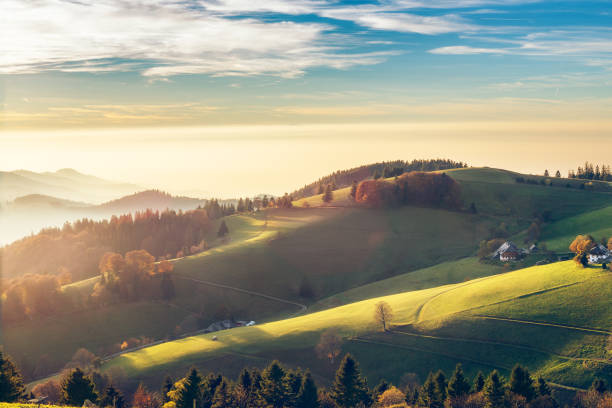 Scenic autumn mountain landscape of Black Forest, Germany. Scenic autumn mountain landscape of Black Forest, Germany. Colorful travel background. black forest stock pictures, royalty-free photos & images