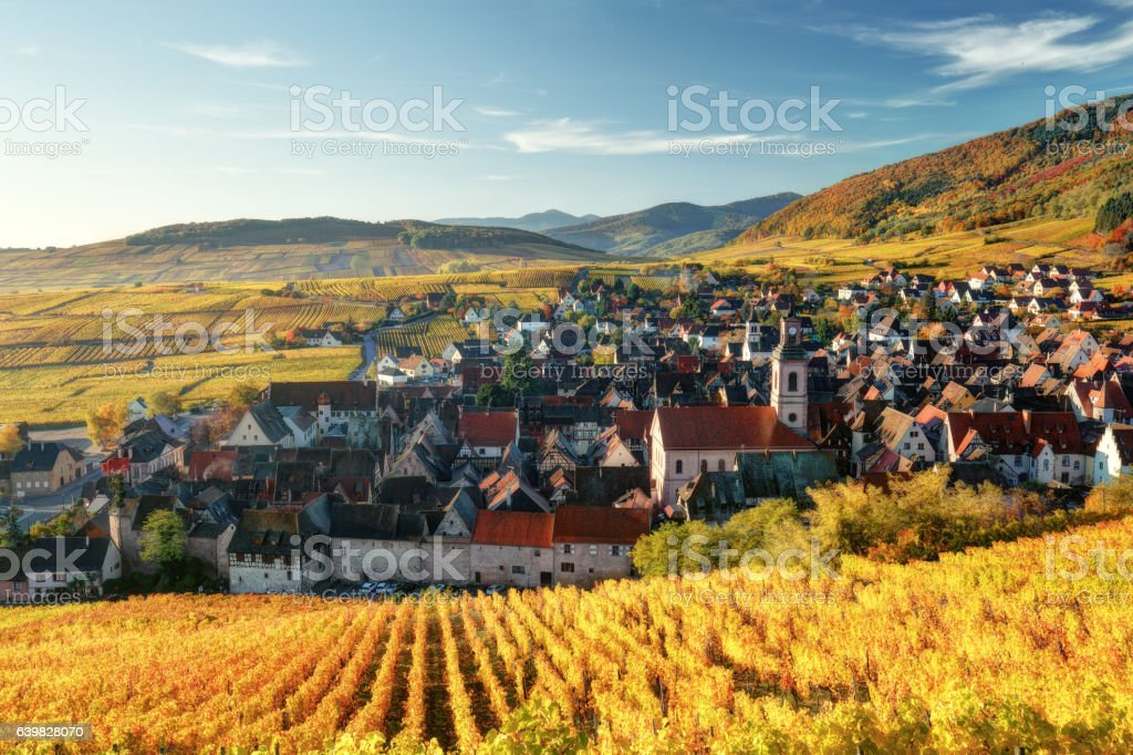 Scenic autumn mountain landscape with vineyards in France - foto stock