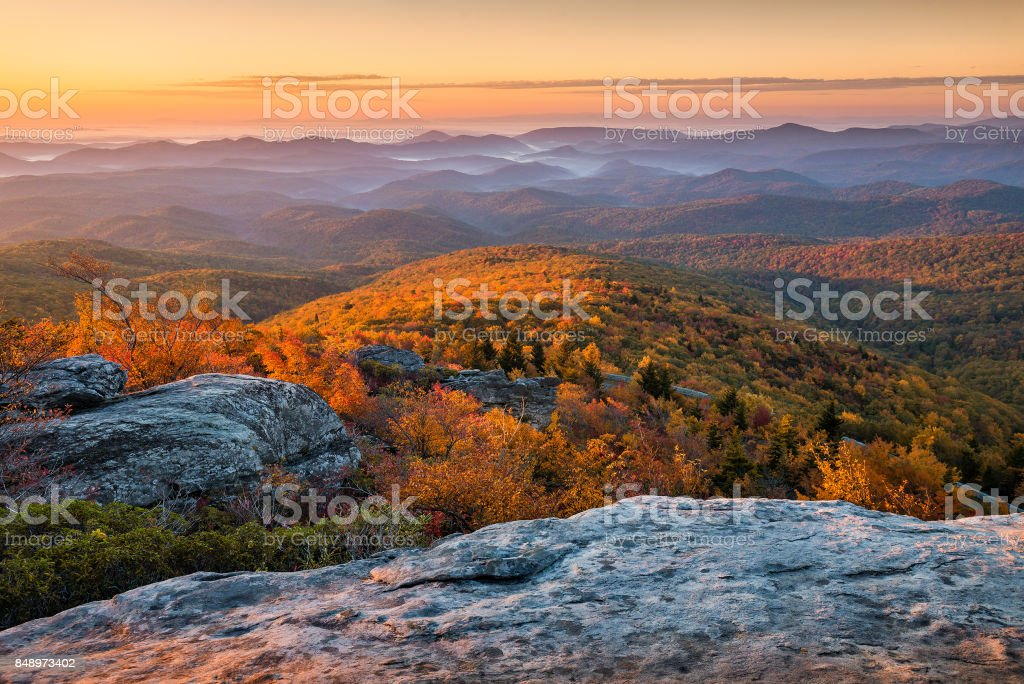 Scenic autumn sunrise, Blue Ridge Mountains, North Carolina stock photo