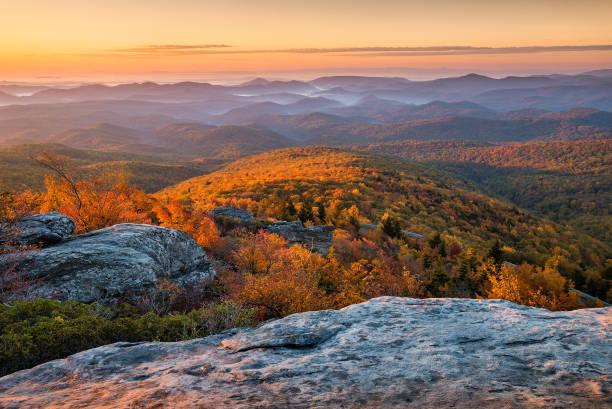 Scenic autumn sunrise, Blue Ridge Mountains, North Carolina stock photo
