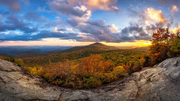 Scenic autumn sunset, Blue Ridge Mountains, North Carolina. stock photo