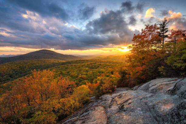 Scenic autumn sunset, Blue Ridge Mountains, North Carolina stock photo