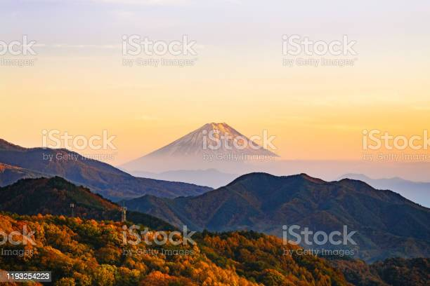 Photo of Scenic autumn sunset view over Mt. Fuji