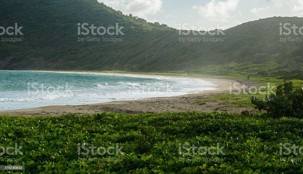 scenic bay in lush mountainous setting royalty-free stock photo