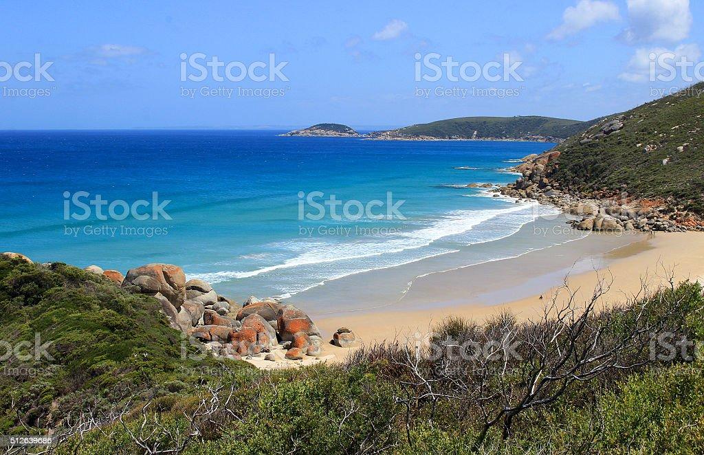 Scenic beach at Whisky Bay stock photo