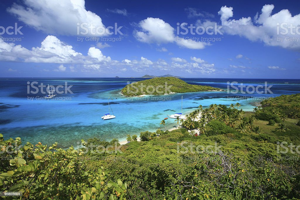 Scenic beach side view of Tobago Cays stock photo