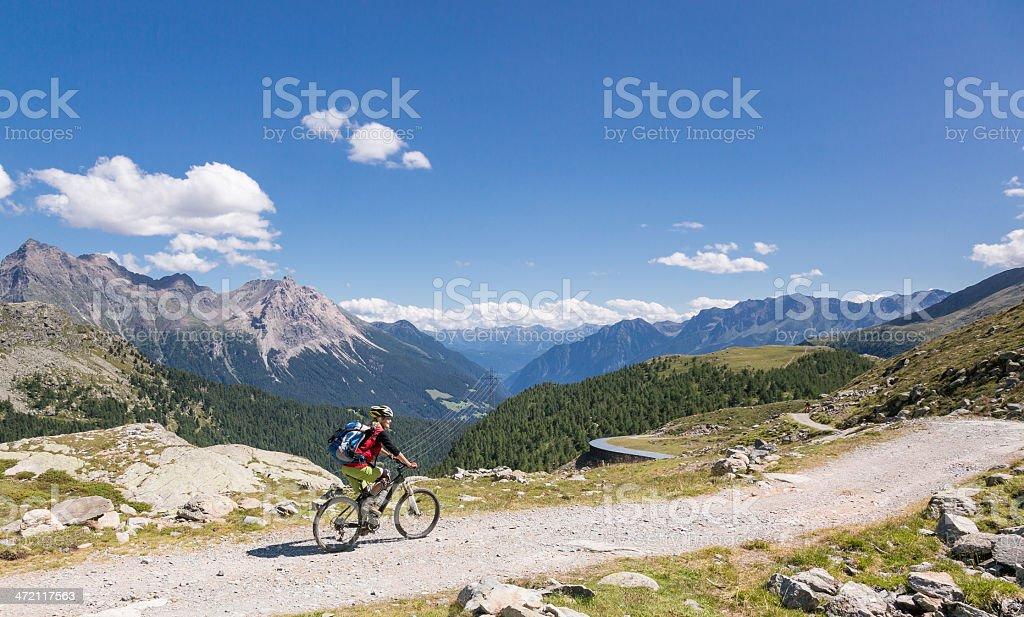 Scenic Bernina downhill, Switzerland stock photo