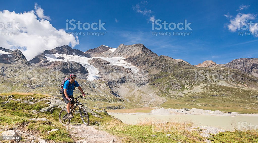 Scenic Bernina Pass Biking, Switzerland royalty-free stock photo