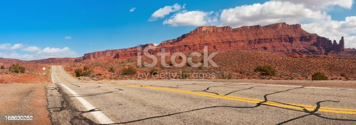Panoramic view towards Fisher Towers from Scenic Byway 128, near Moab, Utah, USA.